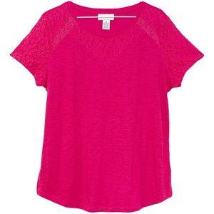 LIZ CLAIBORNE Top bright pink scoop neck lace